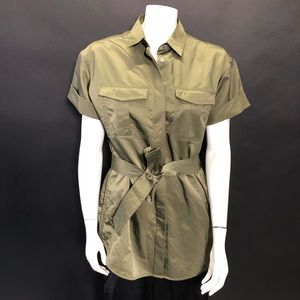 NWT Banana Republic Olive Belted Blouse M